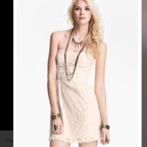 Free People ivory lace floral strapless mini dress
